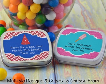 Birthday Party Favors for Adults - Birthday Party Favors - Birthday Mint Tins - Favor Tins - Kids Birthday Party Favors - Set of 10