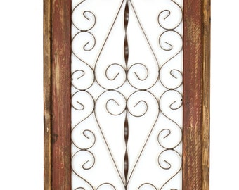 Spanish Architectural Window-Small-Wall-Primitive-Rustic-Garden-Patio-19x39-Red-Handmade
