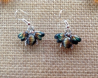 Handmade Silver and Clay Bee Earrings