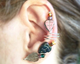 Autumn Leaves on Silver Ear cuffs, Pair or Single, nature, leaf crystal beads from the Czech Republic, single or pair,