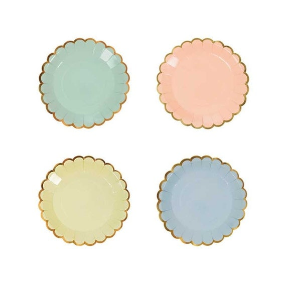Meri meri pastel canape plates 8 small paper plate with for What is a canape plate used for