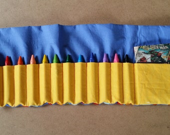 Handmade Kids Roll Up Crayon Holder (you choose the fabric!)