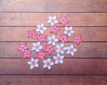 20 Flower die cuts, small flowers, table confetti, flower punch, hand stamped flowers, 2 designs