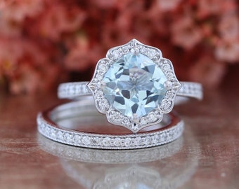 Bridal Set Vintage Floral Aquamarine Engagement Ring and Milgrain Diamond Wedding Band in 14k White Gold 8x8mm Cushion Cut Gemstone Ring Set