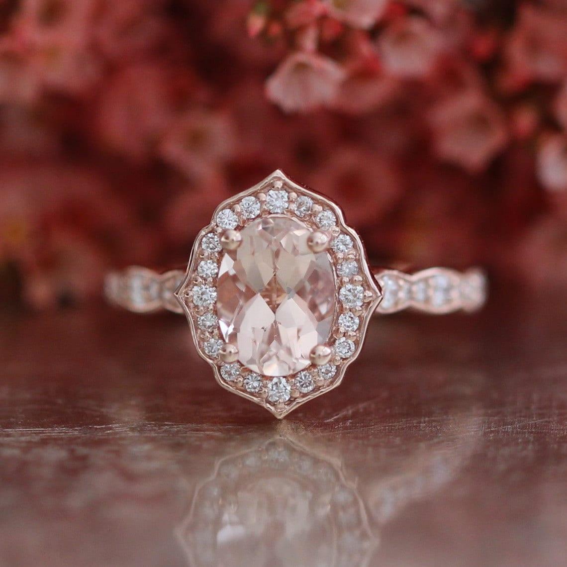 Vintage Floral Oval Morganite Engagement Ring in 14k Rose Gold
