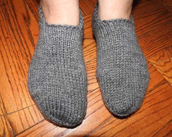 House Socks in Grey Color for Men or Women, Hand Knitted