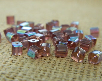 4mm AB Light Purple Square Glass Beads - 25 Beads