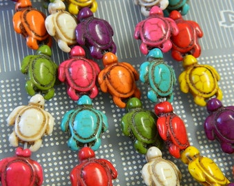 Assorted Dyed Howlite Turtle Beads - Sea Turtle Beads - Fun Festive Carved Turtle Howlite Beads - 6 Assorted Colors Turtle Beads Per Order