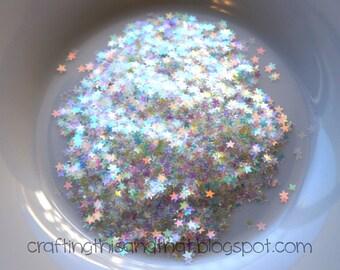 clear iridescent star confetti // star shaped glitter // star confetti