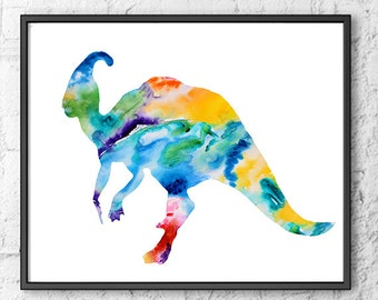 Colorful nursery dinosaur, art print, dinosaur art, dinosaur print, dino wall decor, nursery decor, jurassic print - H216