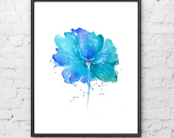 Watercolor Painting Abstract Blue Flower, Flower Art, Blue Home Decor, Flower Poster, Living Room Decor - F40