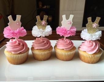 Ballerina cupcake topper - handmade