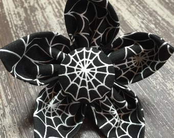 Flower Collar Attachment & Accessory for Dogs and Cats -  HALLOWEEN Black Spider Web