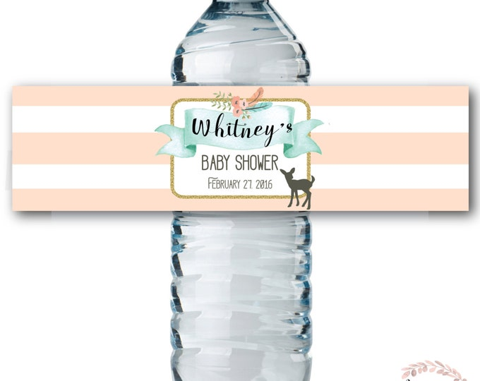 Water Bottle Labels // Oh Deer // Fawn // Water Bottle Wrap // Woodland // Peach // Mint // Printed or Printable DIY // OXFORD COLLECTION