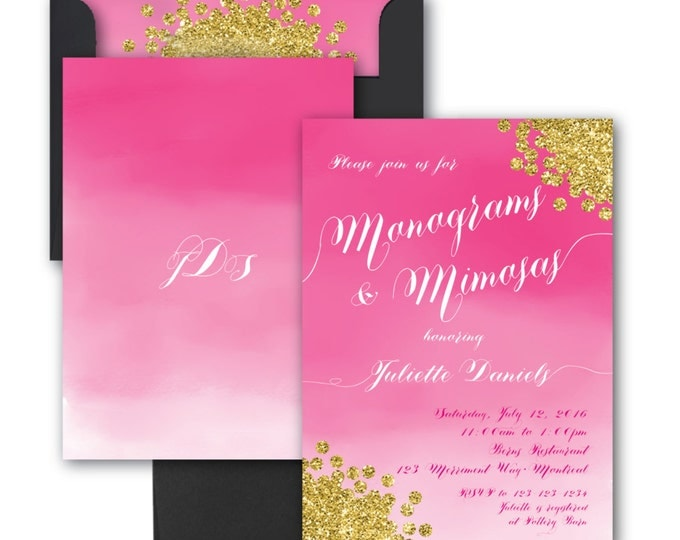 Monograms and Mimosas Invitation//Watercolor//Pink//Gold Glitter//Bridal Shower Invitation // Fuschia//Hot Pink//Ombre// MONTREAL COLLECTION