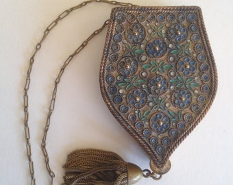 SALE!! VINTAGE Metal dance purse with puff and tassel.