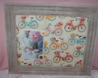 Shabby Bicycle Print Magnetic Memo Board