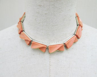 Peach Vintage Thermoset Signed Lisner Necklace, Gold Tone Orange Choker