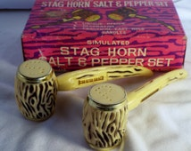 Vintage Staghorn Salt & Pepper Shakers/ New Mexico Travel Souvenir from 1970s/Original Box/Never Used/ Southwest Collectible/giftunder15