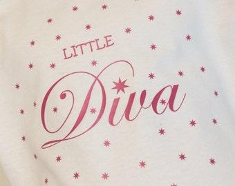 Little Diva T-Shirt for Toddlers | Stars Tshirt | Pink Vinyl and White Tshirt | Cute Tshirt for Toddlers | Girls Diva Tshirt