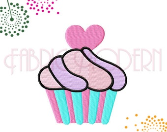 CUPCAKE Embroidery Design with heart topping, 5 sizes from 2 inches to 4 inches, #602