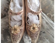 Delightful most gorgeous antique vintage palest nude pink silk beaded rosette 1920s shoes ~ most beautiful decoration and display
