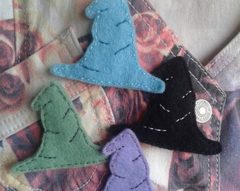 Witch Hat Brooch- felt jewellery, choice of four colours