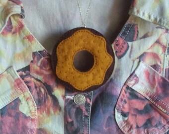 Chocolate caramel donut necklace