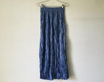 Vintage Skirt - Blue Crinkle Wrinkle Tiered Maxi Skirt Goth Punk Grunge Boho