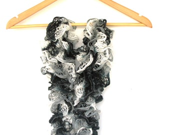 Black and White lace scarf, ruffle scarf, necklace scarf, winter accessories, women scarf, Grey Lace, unique scarves