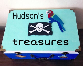 Pirate theme room boys home decor boys treasure box boys treasure chest blue custom box pirate keepsake box pirate treasure box parrot flag