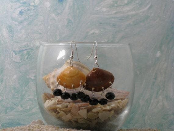 Beaded Fringe Shell Earrings