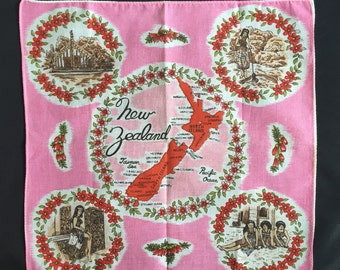 Vintage New Zealand Cotton Handkerchief