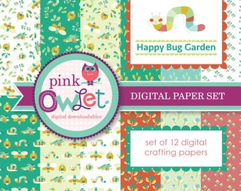 Happy Bug Garden Digital Paper Set