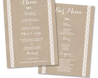 Rustic Wedding Menu - Bar Menu Template - Kraft Wedding Dinner Menu Card - Wedding Reception Menu - Barn Country Wedding Menu - WM01