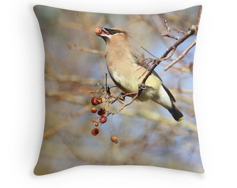 Nature Decor, Cedar Waxwing, Bird Pillow, Bird Lover Gift, Wildlife Decor, Bird Cushion, Bird Throw Pillow, Nature Photography,Throw Pillows