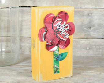 Dr. Pepper Soda Can Art Red Flower on Yellow