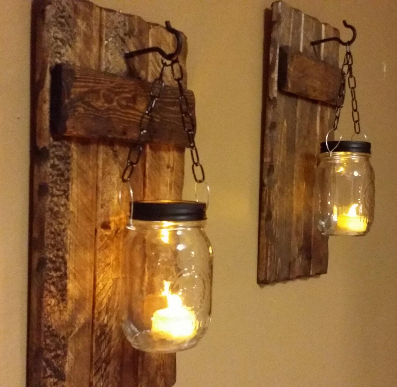 Wood sconces rustic home decor rustic candle holder Home decor lanterns