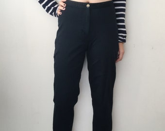 "Vintage Black High Waisted ""Mom"" Pants/Trouser, 100% cotton"