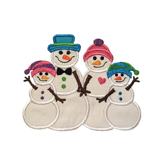 Snowman family two kids applique machine embroidery digital