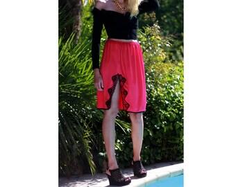 Evening satin red skirt / vintage skirt / black lace