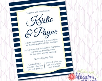 Navy & Yellow Cape Cod Inspired - Printable Wedding Invitation