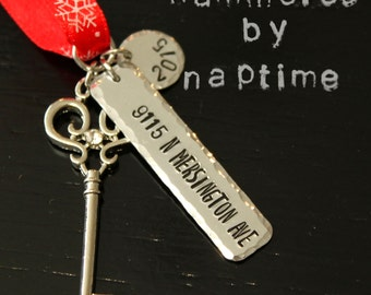 New Home Ornament - Christmas Ornament for Homeowner - Address Ornament - Key Ornament - Gift for Couple - Gift for New Home