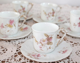 Set of 5, Small Espresso Cups, Limoges China, Demitasse, Limoges Porcelain,Tea Party Cups,Cups and Saucers Sets,China Cups,Shabby Chic China