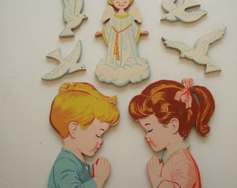 Vintage Nursery Art Decor - 1950's Child's Room wall hanging - boy, girl, angel and doves