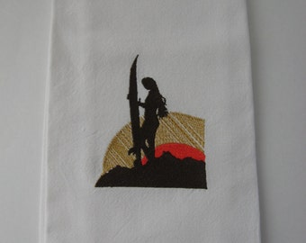 Embroidered Towel.Surfer Girl. Embroidered Towel.Kitchen Towel.Surfer Girl and Surfboard.Sunset Surfing.Beach Towel.Ocean Sport.