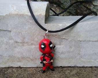 Chibi Deadpool polymer clay charm