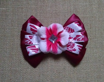 Burgundy Hairbow, Flower Hairbow, Girls Hairbow, Formal Hairbow, Girls Hair Accessory, Pink Flower Hairbow, Large Hairbow, Pink Hair Clip