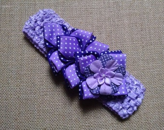 Baby Girl Headband, Flower Headband, Purple Headband, Kanzashi Headband, Baby Hair Accessory, Baby Headband, Infant Headband, Girls Headband