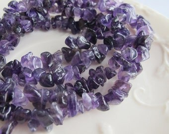 Genuine  Amethyst    strand of gemstone chips